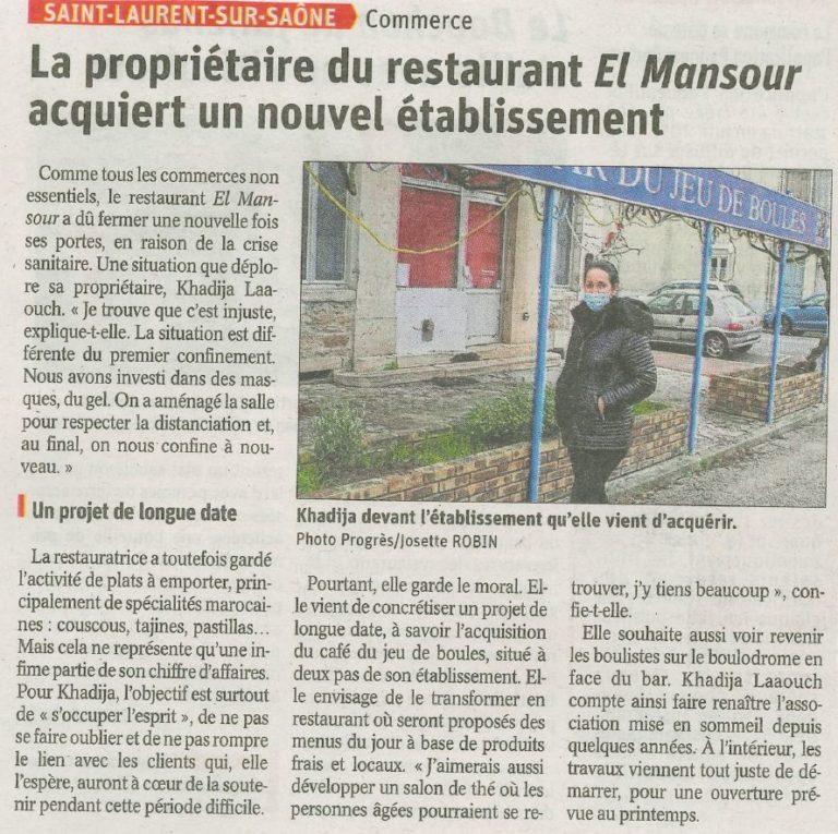 La propriétaire du restaurant El Mansour acquiert un nouvel établissement