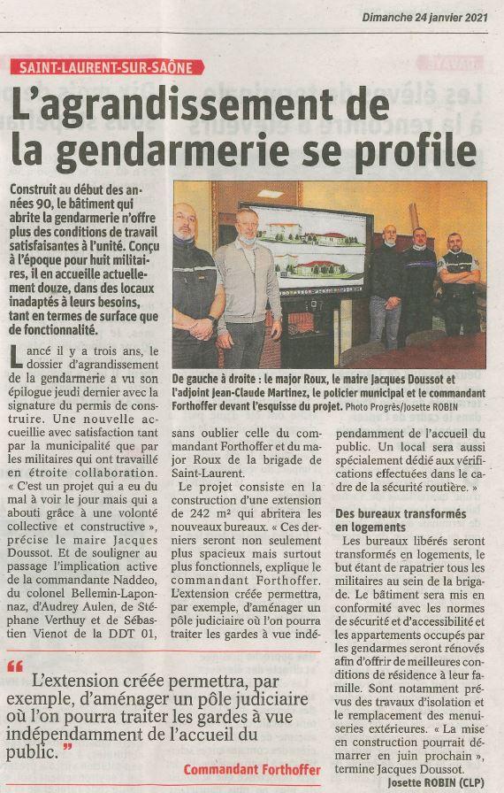 2021.01.24_lagrandissement de la gendarmerie se profil_Mairie de Saint Laurent sur Saone